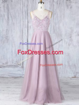 Modest Lace Wedding Guest Dresses Pink Clasp Handle Sleeveless Floor Length