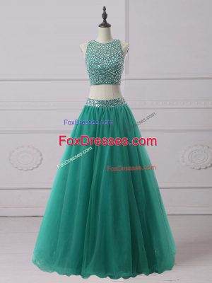 Scoop Sleeveless Zipper Prom Gown Green Tulle