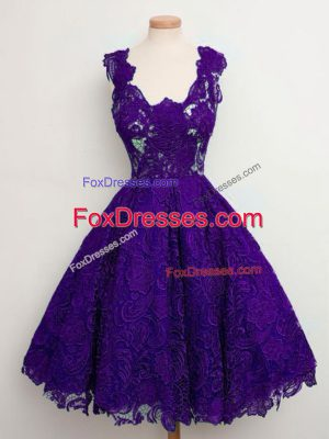 Purple Lace Up Straps Lace Bridesmaid Dress Lace Sleeveless
