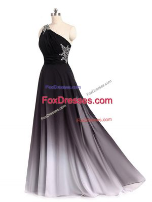 Multi-color Chiffon Lace Up One Shoulder Sleeveless Prom Gown Brush Train Beading and Ruching