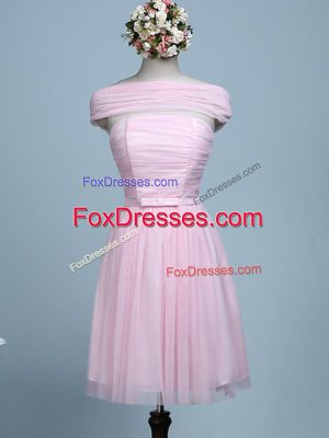 Baby Pink Sleeveless Tulle Side Zipper Bridesmaid Dress for Prom and Party and Wedding Party
