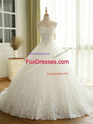 Sleeveless Court Train Lace Up Beading and Lace and Appliques Wedding Gown