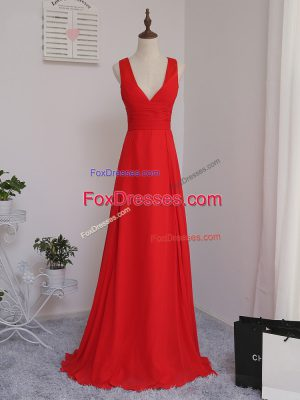 Elegant Red Sleeveless Chiffon Zipper Court Dresses for Sweet 16 for Prom and Party and Wedding Party