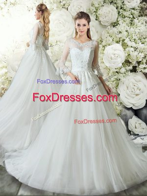 Sophisticated V-neck 3 4 Length Sleeve Wedding Gown Court Train Lace White Tulle