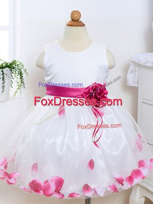 Sleeveless Appliques and Hand Made Flower Zipper Kids Formal Wear