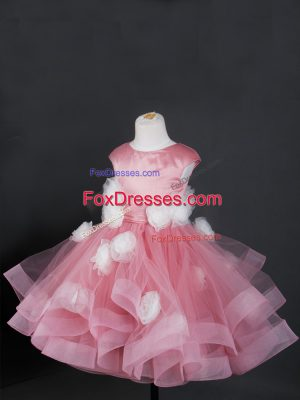 Knee Length Zipper Flower Girl Dress Pink for Wedding Party with Ruffles and Hand Made Flower