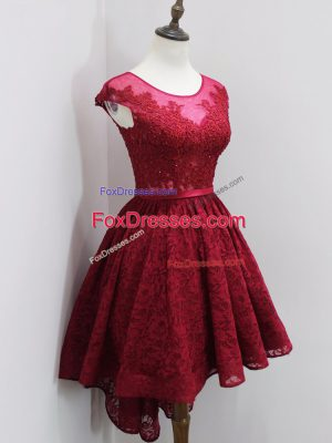 Cap Sleeves High Low Beading and Lace Zipper Bridesmaid Gown with Wine Red