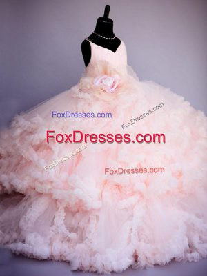 Ruffles and Hand Made Flower Girls Pageant Dresses Baby Pink Criss Cross Sleeveless Brush Train