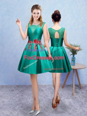 Turquoise Sleeveless Embroidery Knee Length Dama Dress for Quinceanera