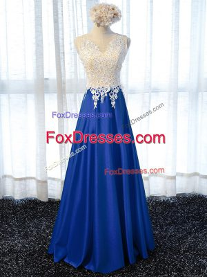 Modest Sleeveless Zipper Floor Length Lace and Appliques Prom Party Dress