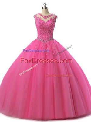 Luxury Hot Pink Ball Gowns Tulle Scoop Sleeveless Beading and Lace Floor Length Lace Up 15 Quinceanera Dress