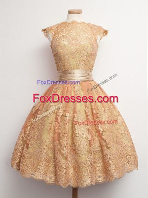 High-neck Cap Sleeves Lace Up Bridesmaid Dresses Gold Lace