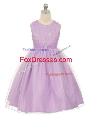 Knee Length Lace Up Party Dresses Lavender for Wedding Party with Beading