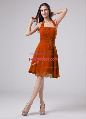 Enchanting Chiffon Halter Top Sleeveless Zipper Ruching Mother Of The Bride Dress in Orange