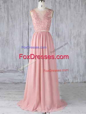 Pink Empire Appliques Bridesmaid Gown Backless Chiffon Sleeveless