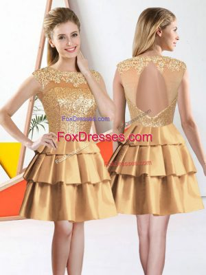 Fine Gold Sleeveless Taffeta Backless Damas Dress for Prom and Party
