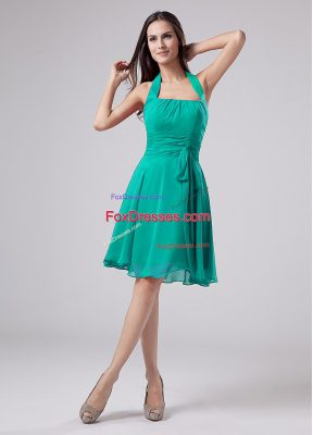 Luxurious Knee Length Turquoise Mother of Groom Dress Halter Top Sleeveless Zipper