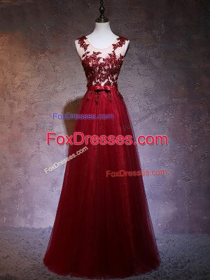 Cheap Sleeveless Elastic Woven Satin Floor Length Backless Homecoming Dress in Wine Red with Appliques
