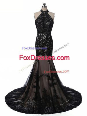 Sleeveless Brush Train Backless Lace and Appliques Mother of Groom Dress