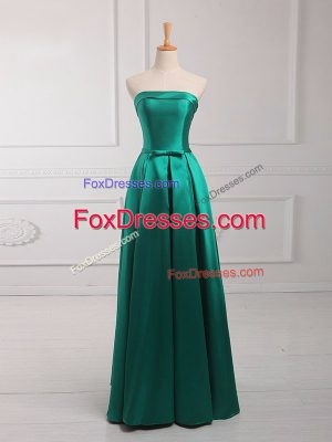 Empire Quinceanera Court of Honor Dress Dark Green Strapless Satin Sleeveless Floor Length Lace Up