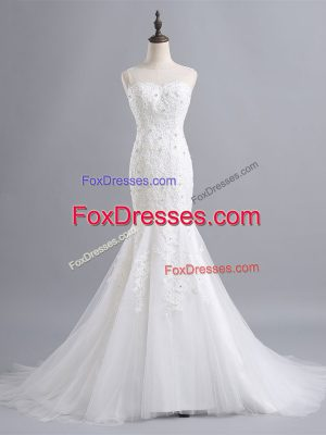 White Bridal Gown Tulle Brush Train Sleeveless Lace