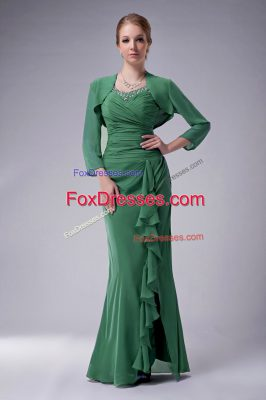 Adorable Straps Sleeveless Mother Of The Bride Dress Floor Length Beading Green Chiffon