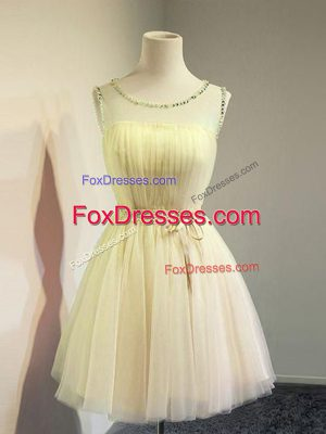 Sleeveless Lace Up Knee Length Belt Wedding Guest Dresses