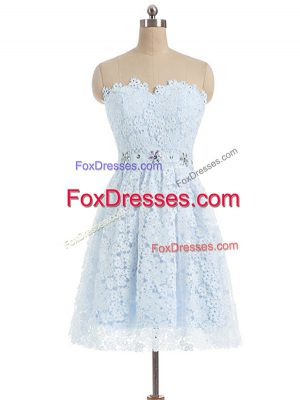 A-line Dress for Prom Light Blue Sweetheart Lace Sleeveless Mini Length Zipper