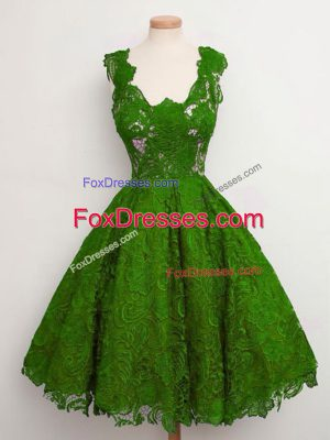 Free and Easy Straps Sleeveless Vestidos de Damas Knee Length Lace Green Lace