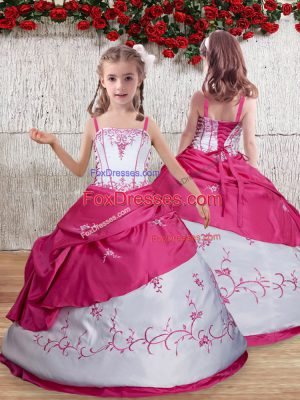 Taffeta Sleeveless Floor Length Little Girls Pageant Gowns and Embroidery