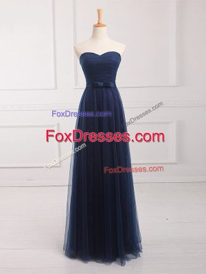 Lovely Sleeveless Tulle and Lace Floor Length Lace Up Damas Dress in Navy Blue with Belt