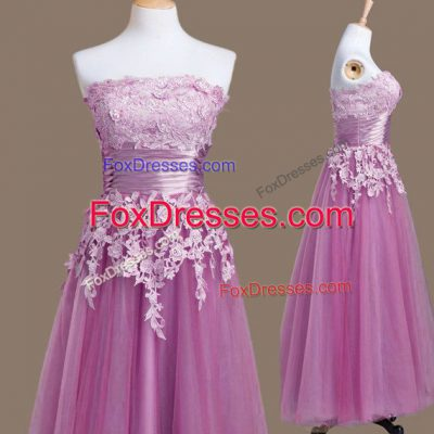 Artistic Tea Length Empire Sleeveless Lilac Wedding Party Dress Lace Up