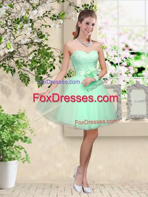 Sumptuous Knee Length A-line Sleeveless Apple Green Wedding Guest Dresses Lace Up