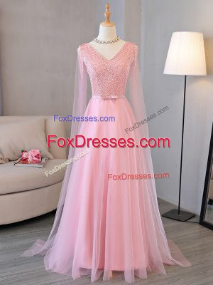 Hot Sale Floor Length Empire Long Sleeves Baby Pink Prom Dress Lace Up