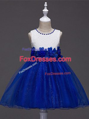 Royal Blue Tulle Zipper Scoop Sleeveless Knee Length Juniors Party Dress Lace and Hand Made Flower