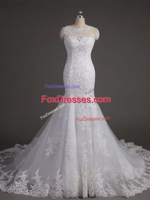 White Wedding Gown Wedding Party with Lace Scoop Sleeveless Brush Train Backless