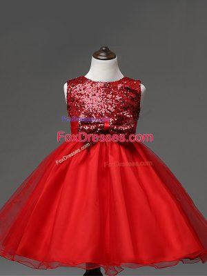 Sleeveless Tulle Tea Length Zipper Casual Dresses in Red with Sequins and Bowknot