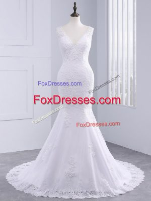 Suitable Sleeveless Brush Train Lace Backless Wedding Dress