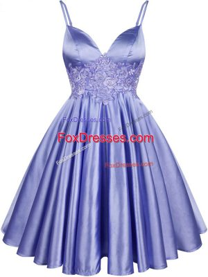 Light Blue Quinceanera Dama Dress Prom and Party and Wedding Party with Lace Spaghetti Straps Sleeveless Lace Up