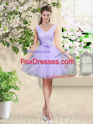 Lilac Sleeveless Tulle Lace Up Bridesmaids Dress for Prom and Party