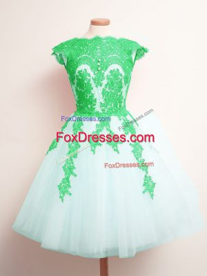High Quality Sleeveless Tulle Mini Length Lace Up Dama Dress for Quinceanera in White with Appliques