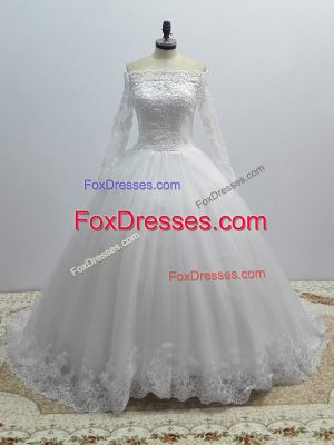 Fantastic Tulle Long Sleeves Wedding Dresses Brush Train and Lace
