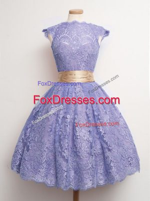 Beauteous Lace High-neck Cap Sleeves Lace Up Belt Vestidos de Damas in Lavender