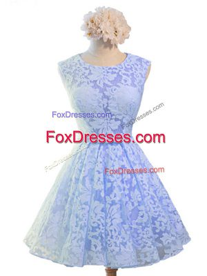 Knee Length Lavender Vestidos de Damas Lace Sleeveless Belt