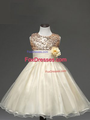 Champagne Sleeveless Knee Length Sequins and Hand Made Flower Zipper Party Dress