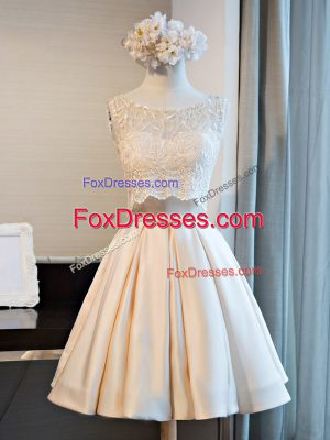Ideal Satin Scoop Sleeveless Lace Up Lace Dress for Prom in Champagne