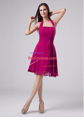 Simple Knee Length Fuchsia Mother Of The Bride Dress Chiffon Sleeveless Ruching