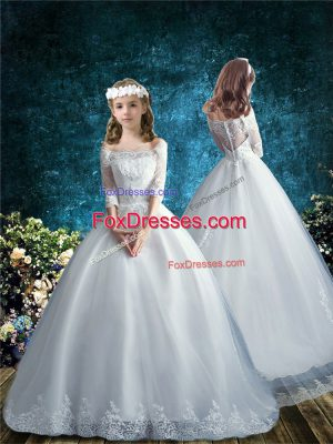 Captivating Lace Flower Girl Dresses for Less White Clasp Handle Half Sleeves Brush Train