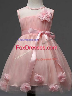 Tulle Scoop Sleeveless Zipper Hand Made Flower Flower Girl Dress in Pink