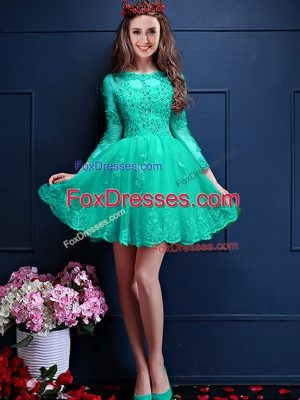 New Arrival Mini Length A-line 3 4 Length Sleeve Turquoise Court Dresses for Sweet 16 Lace Up